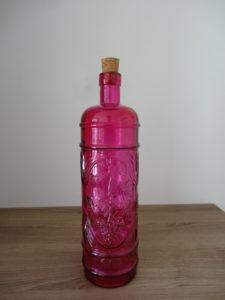 Bouteille carafe verre biseauté fuchsia - Ma déco aux petits oignons