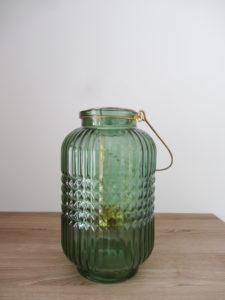 Lanterne verre biseauté verte - Ma déco aux petits oignons