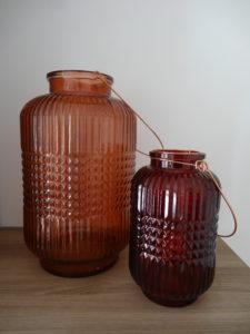 Lanternes verre biseauté bordeaux et vieux rose - Ma déco aux petits oignons