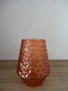 Vase orange verre biseauté type ananas - Ma déco aux petits oignons