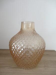 Vase orange ambré verre biseauté - Ma déco aux petits oignons