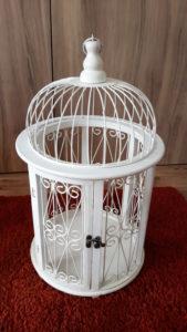 Cage bois ronde blanc - Ma déco aux petits oignons