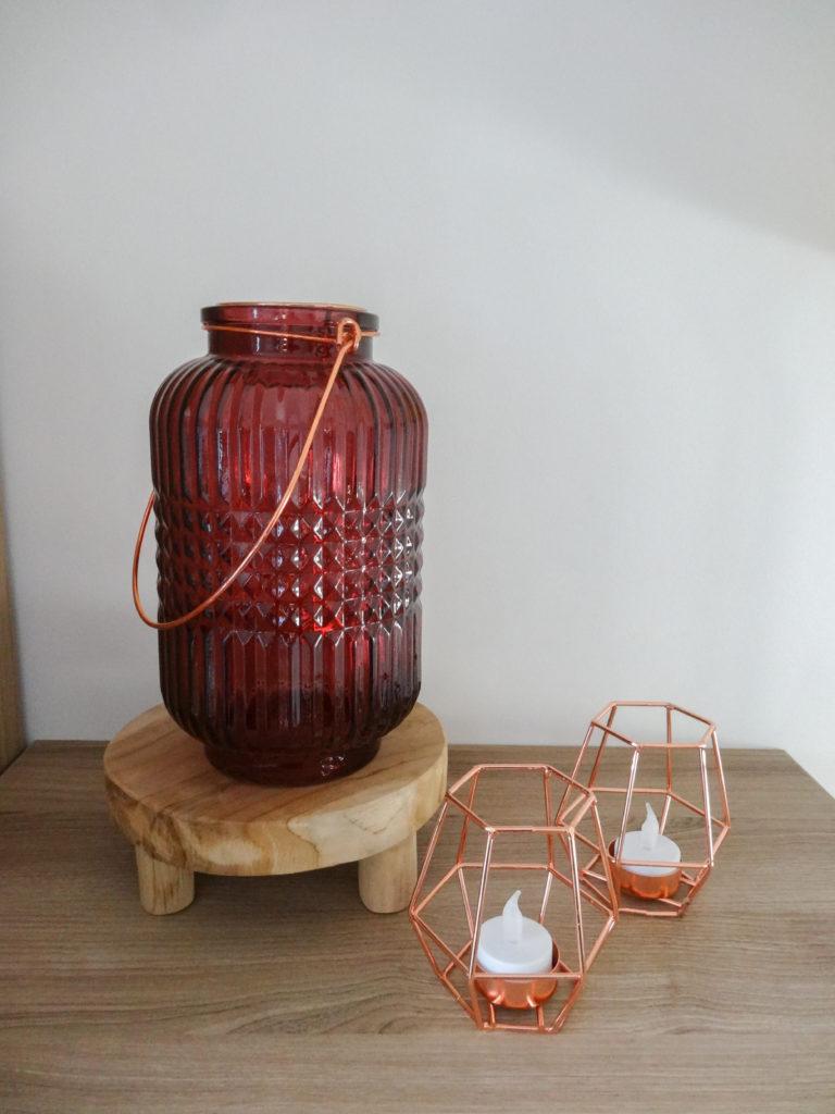 Lanterne bordeaux et photophores géométriques - Ma déco aux petits oignons