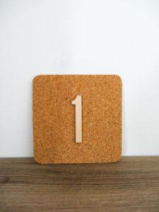 Numéros de table liège - Ma déco aux petits oignons