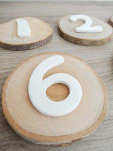 Numéros de table rondin de bois - Ma déco aux petits oignons