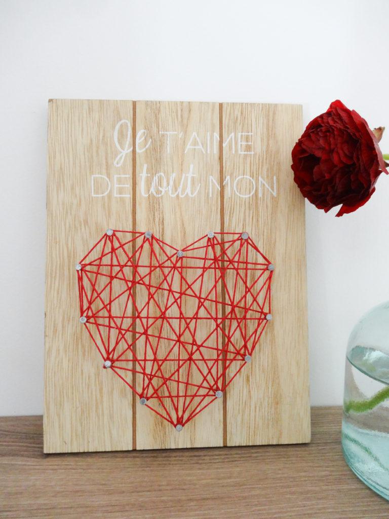 Pancarte Je t'aime de tout mon coeur - Ma déco aux petits oignons