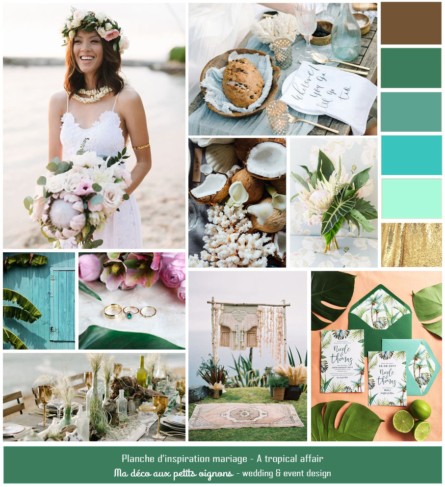 Planche d'inspiration mariage tropical ethnique sur la plage